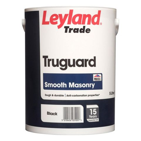 Leyland Trade Truguard Black Matt Masonry Paint 5000ml