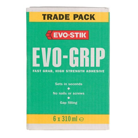 Evo-Stik Evo-Grip Solvented Grab Adhesive 310ml, Pack of 6