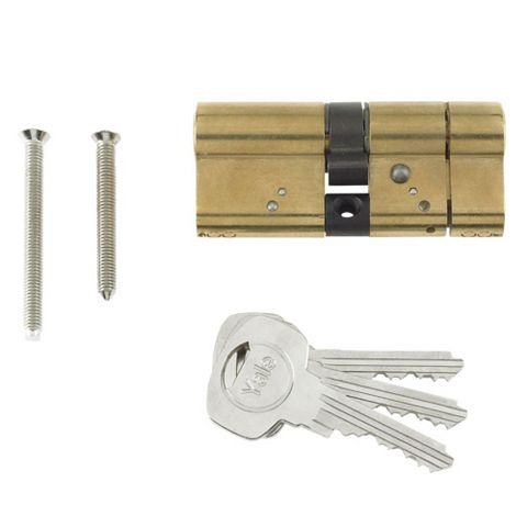Yale 95mm Brass Plated Euro Cylinder Lock