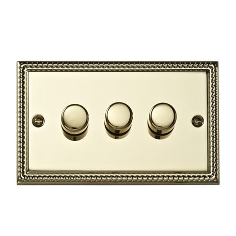 Volex 3-Gang 2-Way Brass Effect Dimmer Switch