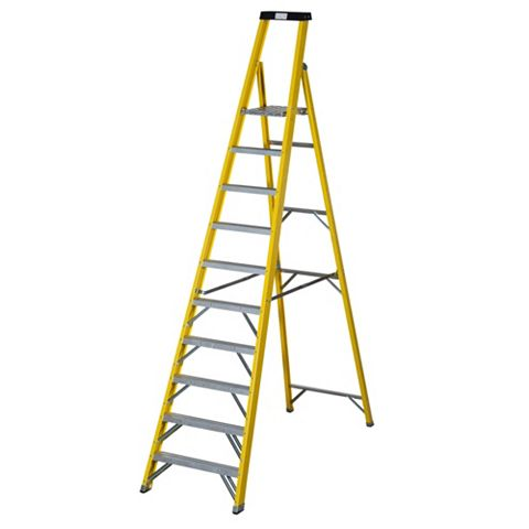 Werner 10 Tread Fibreglass Platform Stepladder, 2940mm