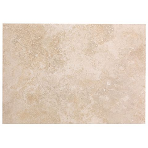 Castle Travertine Cream Ceramic Wall Tile, Pack of 7, (L)316mm (W)450mm