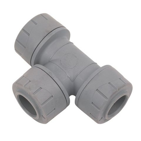 Polyplumb Push Fit Equal Tee (Dia)15 mm, Pack of 10