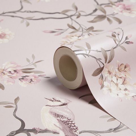 Chinoiserie Pink Foliage & Birds Wallpaper