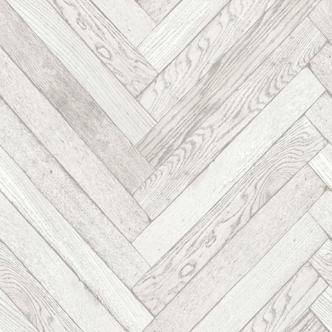 Parquet Wood Plank White Wallpaper