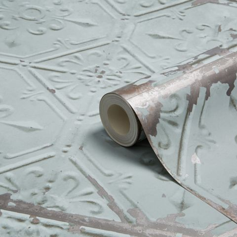 Duck Egg Conversational Metallic Wallpaper