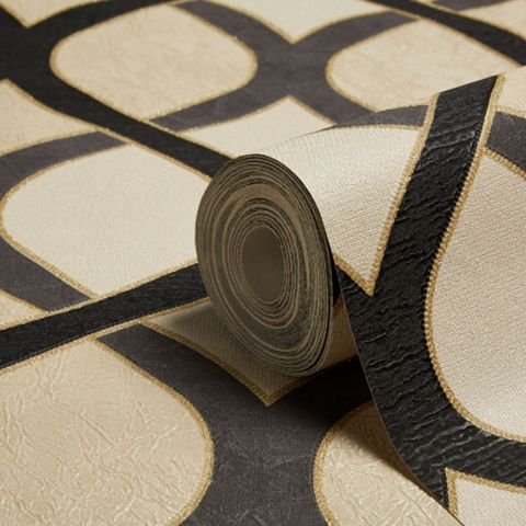 Highbury Black & Gold Effect Geo Wallpaper