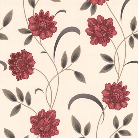 Sadie Cream & Red Floral Wallpaper