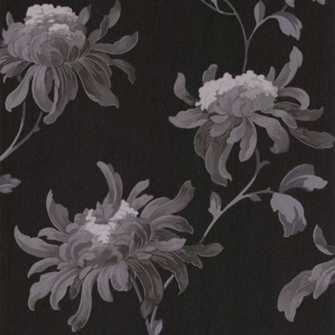 Julien Macdonald Fabulous Black & Grey Floral Glitter Effect Wallpaper