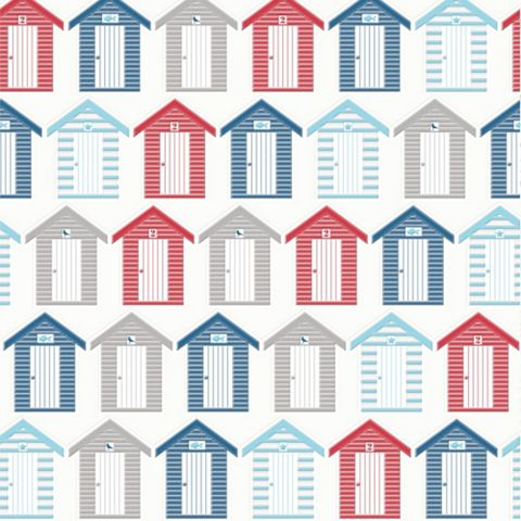 Contour Red, Blue & White Beside The Seaside Kitchen & Bathroom Wallpaper