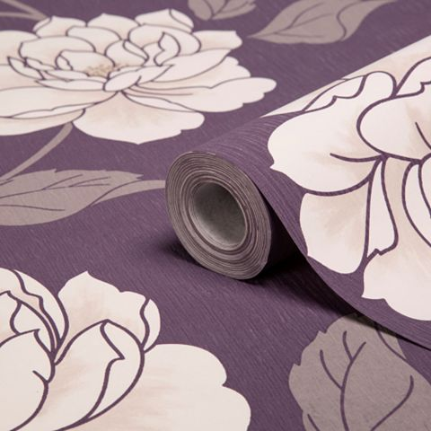 Ella Purple & White Floral Wallpaper
