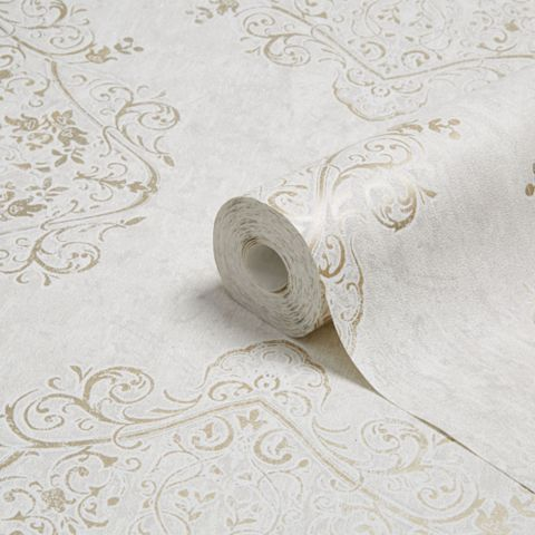 Superfresco Easy Champagne Gold Moroccan Damask Glitter Effect Wallpaper