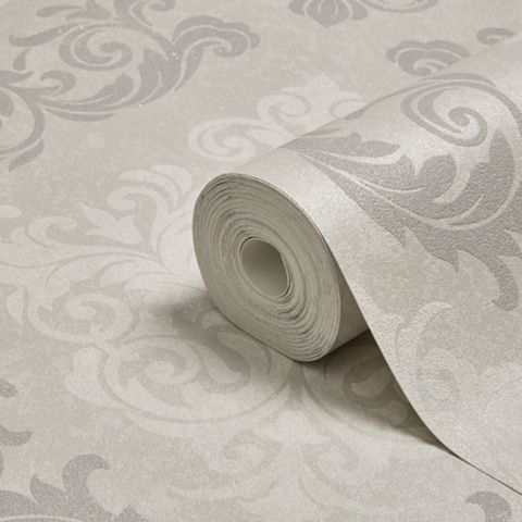 Elegance Silver Damask Mica Wallpaper