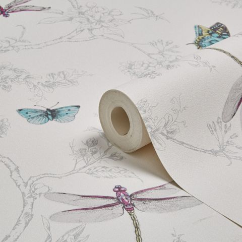 Contour White & Silver Nature Trail Kitchen & Bathroom Wallpaper