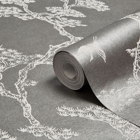 Fibrous Richmond Pewter & White Trees & Birds Metallic Wallpaper
