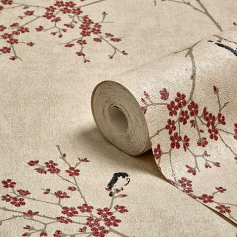 Beige & Red Oriental Blossom Wallpaper