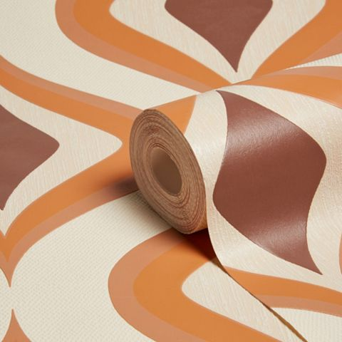 Superfresco Easy Choc & Orange Retro Wallpaper