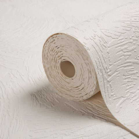 Chunky Plaster White Vinyl Wallpaper