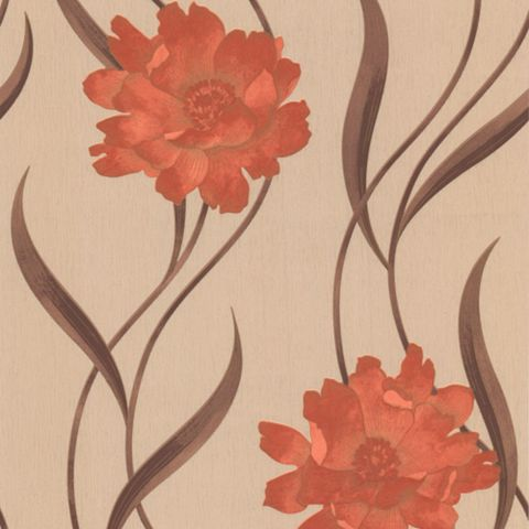 Superfresco Brown & Red Floral Wallpaper