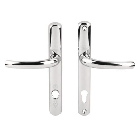 Yale Platinum Security Polished Chrome Effect Curved Lever Key Lock Door Handle,215mm