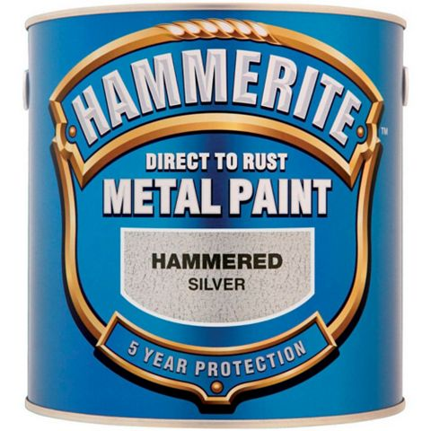 Hammerite Metal Paint Hammered Effect Silver, 2.5L