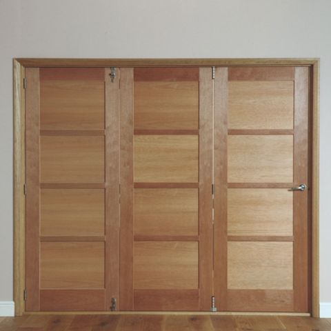 Beauly 4 Panel Hardwood Veneer Internal Folding Door LH, (H)2035mm (W)2146mm