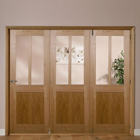 Laxford 2 Panel 2 Lite Oak Veneer Partially Glazed Internal Folding Door RH, (H)2035mm (W)2146mm