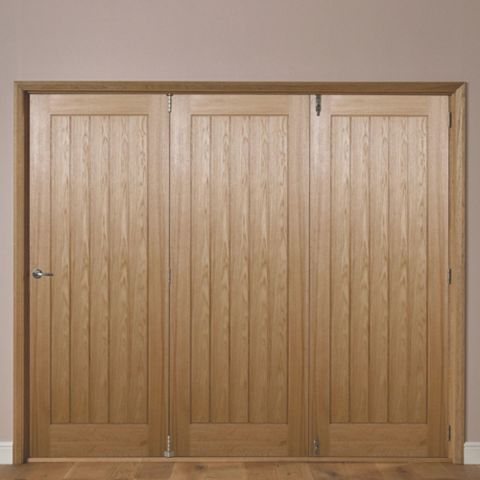 Laxford Cottage Oak Veneer Internal Folding Door RH, (H)2035mm (W)2146mm