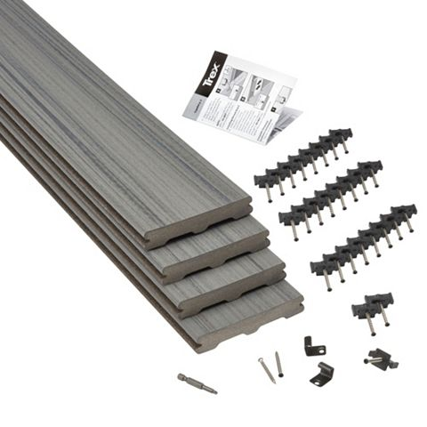 Trex® Chateau Chateau Grey Composite Deck Board (T)24mm (W)140mm (L)2400mm, Pack of 4