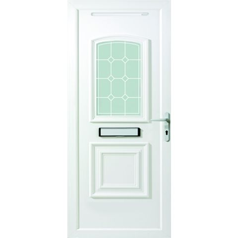 2 Panel PVCu Glazed External Front Door & Frame Lh, (H)2055mm (W)840mm