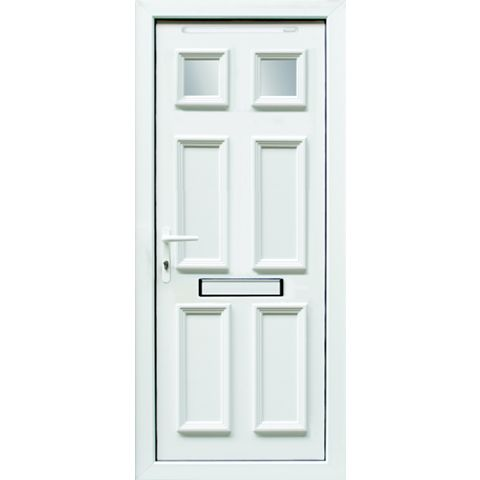 6 Panel PVCu Glazed External Front Door & Frame Rh, (H)2055mm (W)920mm