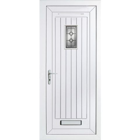 Cottage Panelled PVCu Glazed External Front Door & Frame Rh, (H)2055mm (W)840mm
