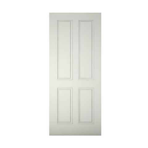 4 Panel Primed Clear Pine Veneer Timber External Front Door & Frame with Letterplate, (H)2074mm (W)856mm