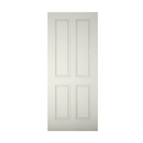 4 Panel Primed Clear Pine Veneer Timber External Front Door & Frame with Letterplate, (H)2074mm (W)932mm