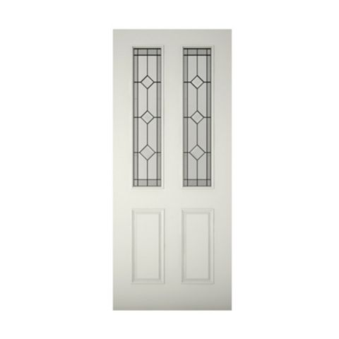 4 Panel Primed Glazed Front Door & Frame, (H)2125mm (W)907mm