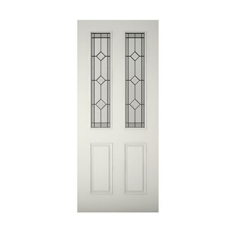 4 Panel Primed Clear Pine Veneer Timber Glazed External Front Door & Frame with Letterplate, (H)2074mm (W)856mm