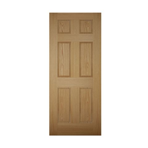 6 Panel White Oak Veneer Front Door & Frame, (H)2074mm (W)932mm