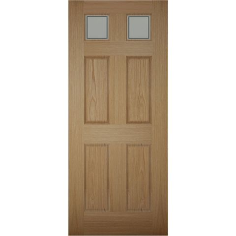 6 Panel White Oak Veneer Glazed Front Door & Frame, (H)2074mm (W)856mm