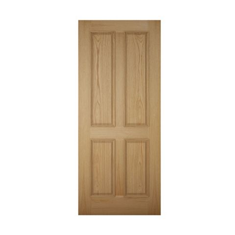 4 Panel White Oak Veneer Front Door & Frame, (H)2074mm (W)932mm