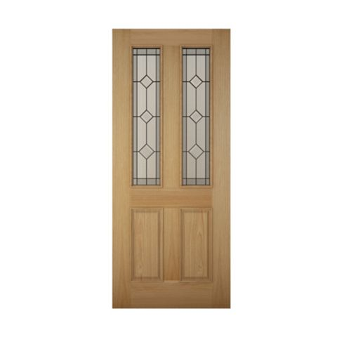 4 Panel White Oak Veneer Glazed Front Door & Frame, (H)2074mm (W)856mm