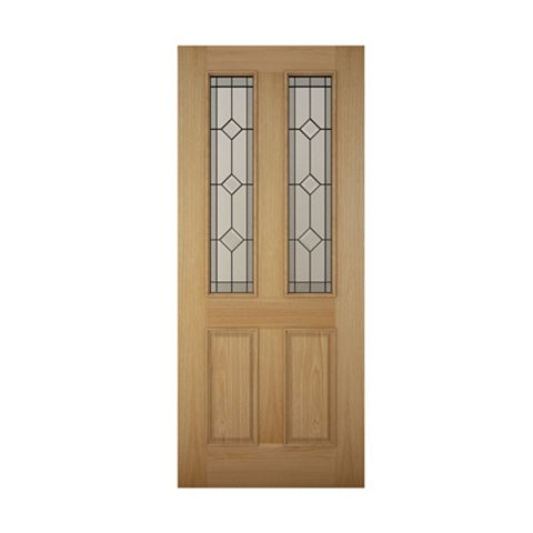 4 Panel White Oak Veneer Glazed Front Door & Frame with Letter Plate, (H)2125mm (W)907mm