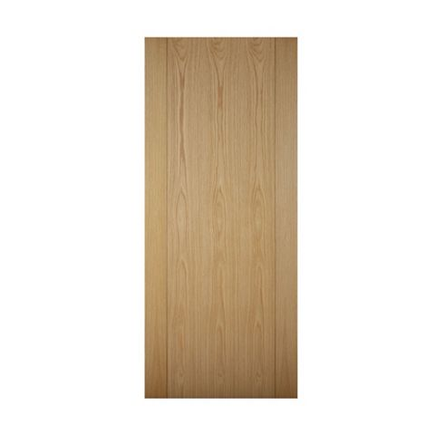 Contemporary Grooved Panel White Oak Veneer Timber External Front Door & Frame, (H)2074mm (W)932mm