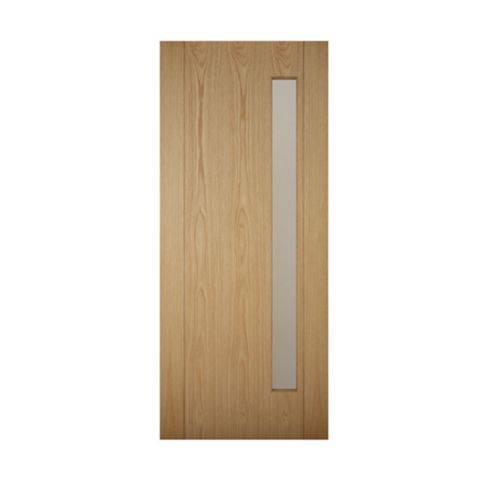 Contemporary Grooved Panel White Oak Veneer Glazed Front Door & Frame with Letter Plate, (H)2125mm (W)907mm