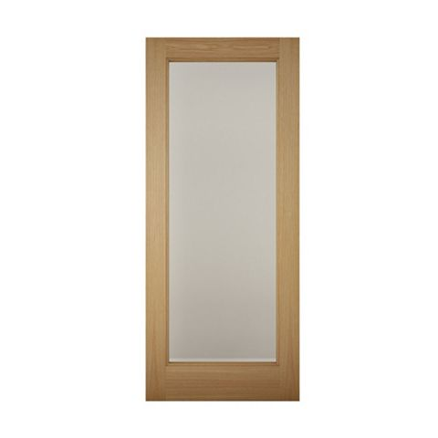 1 Panel Shaker White Oak Veneer Glazed Front Door & Frame, (H)2032mm (W)813mm
