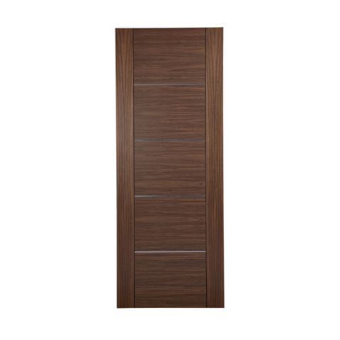 Flush 5 Panel Walnut Veneer Internal Door, (H)1981mm (W)762mm
