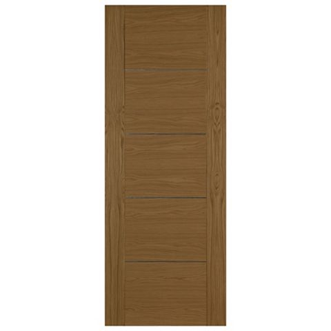 Flush 5 Panel Oak Veneer Internal Door, (H)1981mm (W)762mm