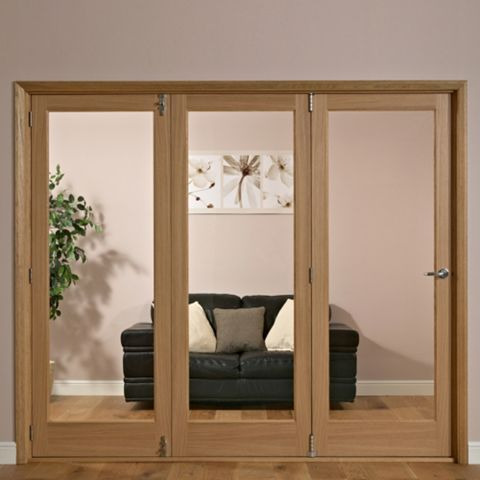 Lockwood 1 Panel Shaker 1 Lite Oak Veneer Glazed Internal Trifold Door LH, (H)2035mm (W)2374mm
