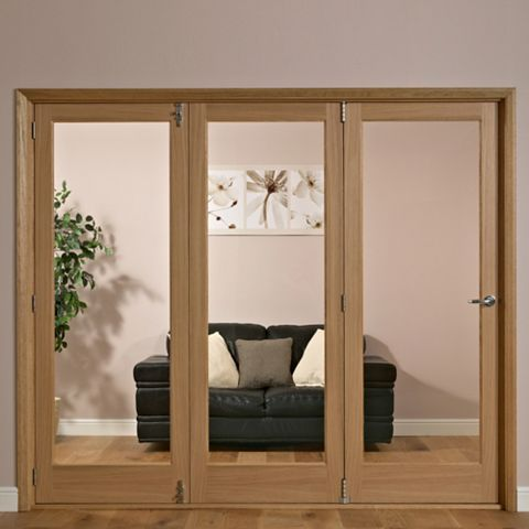 Lockwood 1 Panel Shaker 1 Lite Oak Veneer Glazed Internal Folding Door LH, (H)2035mm (W)2146mm