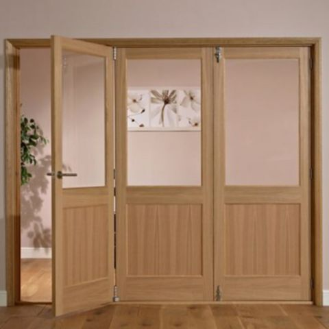 Fontburn 1 Panel 1 Lite Oak Veneer Partially Glazed Internal Folding Door LH, (H)2035mm (W)2374mm