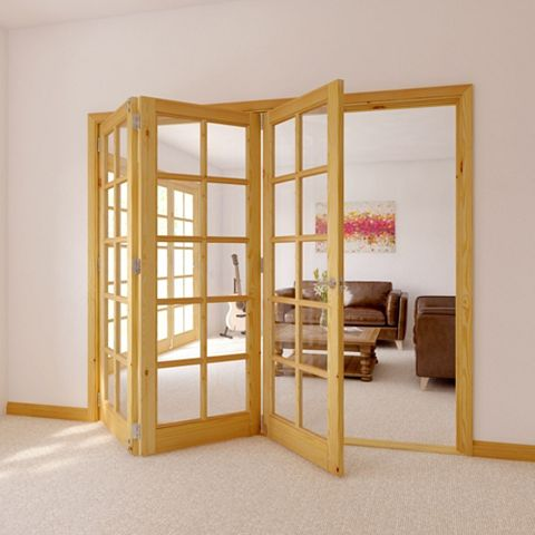 10 Lite Knotty Pine Veneer Glazed Internal Folding Door, (H)2035mm (W)2146mm